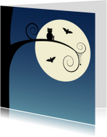 Happy Halloween owl at the moon