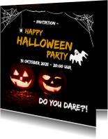 Halloween kaarten - Happy halloween party - do you dare?