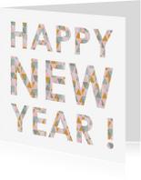Nieuwjaarskaarten - Happy new year geometrisch roze