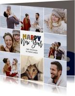 Nieuwjaarskaarten - Happy New Year kerstkaart collage