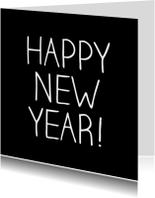 Nieuwjaarskaarten - Happy new year zwart