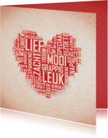 Liefde kaarten - Hart vol complimenten