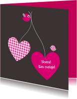 Felicitatiekaarten - Hartjesballonnen met vogeltjes