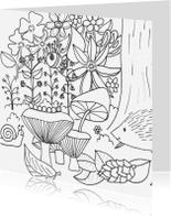Kleurplaat kaarten - Herfst kleurkaart paddenstoelen