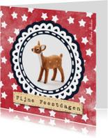 Nieuwjaarskaarten - Hert met sterrenachtergrond