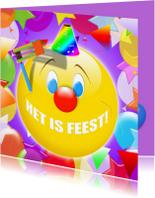 Carnavalskaarten - Het is feest smile ballonnen RB