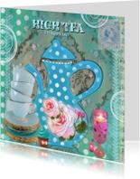 Uitnodigingen - High Tea party stippen blauw