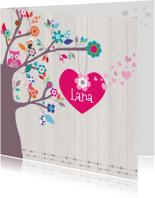 Geboortekaartjes - Hip Geboortekaartje Boom Lana