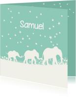 Geboortekaartjes - Hip geboortekaartje met silhouet van 3 olifantjes
