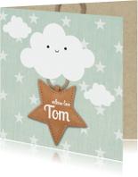 Geboortekaartjes - hip geboortekaartje met wolken