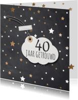 Jubileumkaarten - Hippe 40 jarig huwelijk uitnodiging koper sterren