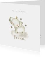 Geboortekaartjes - Hippe geboortekaart met olifantje en sterren