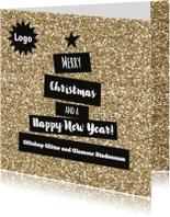 Zakelijke kerstkaarten - Hippe glamour kerstkaart met logo