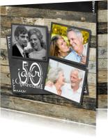 Jubileumkaarten - Hippe jubileumkaart  fotocollage - krijtbord hout