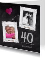 Jubileumkaarten - Hippe kaart 40 jaar huwelijk