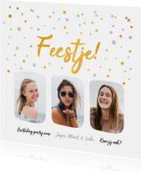 Uitnodigingen - Hippe uitnodiging feestje met goud en zilver confetti