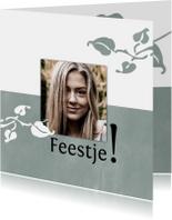 Uitnodigingen - Hippe uitnodiging met foto en botanische elementen