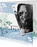 Uitnodigingen - Hippe uitnodiging voor een tuinfeest met bladeren en foto