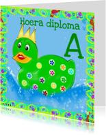 Geslaagd kaarten - Hoera diploma A badeend