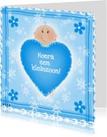 Felicitatiekaarten - Hoera een kleinzoon blauw