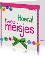 Felicitatiekaarten - hoera twee meisjes