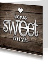 Verhuiskaarten - Home sweet home hout vierkant