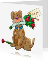 Dierenkaarten - Hond met rozen voor jou