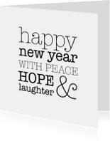 Hope & laughter nieuwjaarskaart