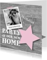 Uitnodigingen - Housewarming party hout, ster en foto