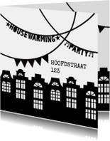 Uitnodigingen - Housewarming party uitnodiging zwartwit slingers huisjes
