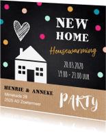 Uitnodigingen - Housewarming uitnodiging huisje stippen krijtbord kraft