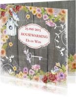 Uitnodigingen - housewarming vogelhuis hout