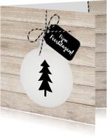 Kerstkaarten - Hout Kerstkaart Witte Kerstbal