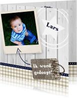 Doopkaarten - Hout met Label doop blauw - BK