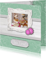 Uitnodigingen - Hout met Label Tea Time - BK