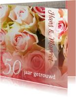 Jubileumkaarten - Hout rozen en veer jubileum