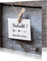 Trouwkaarten - houten bedankkaart
