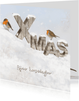 Kerstkaarten - Houten letters -vierkant-