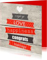 Felicitatiekaarten - Houtprint met tekst, huwelijk