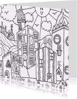 Kleurplaat kaarten - Huis en zon