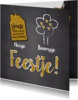 Uitnodigingen - Huisje boompje feestje goud