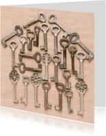 Verhuiskaarten - Huisje gemaakt van diverse sleutels
