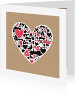 Felicitatiekaarten - Huwelijk - Groot hart met silhouetten
