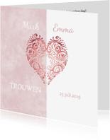 Trouwkaarten - Huwelijk roze hart