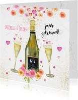 Jubileumkaarten - Huwelijksjubileum champagne bloemen