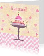 Felicitatiekaarten -  huwelijksjubileum pastel taart