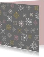 Kerstkaarten - IJsbloemen patroon grijs