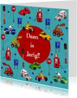 Verjaardagskaarten - Jarig auto feest by Cartita Design -1