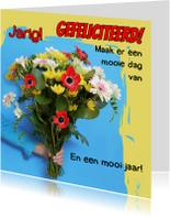 Verjaardagskaarten - Jarig, bos bloemen
