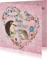 Verjaardagskaarten - Jarig Egel en Muis Dieren